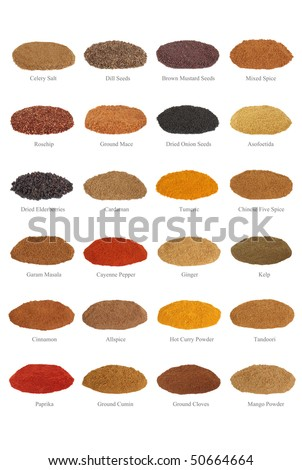 Large spice selection with titles, isolated over white background. - stock photo