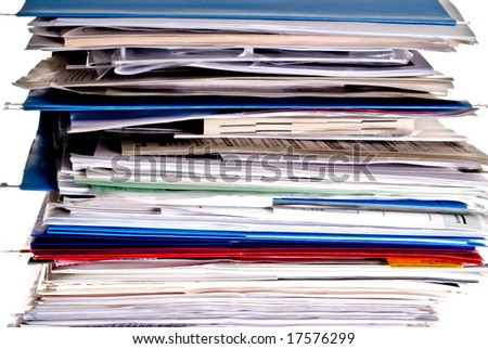 Large stack of business files and folders