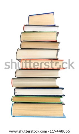 large stack of different books isolated on white background closeup