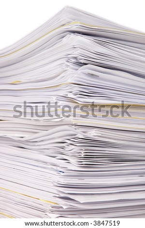 Large stack of documents or files, overload of paperwork - stock photo