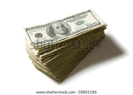 Large stack of hundred dollar bills isolated on a white background - stock photo