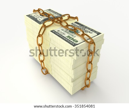 Large stack of money wrapped chain isolated on white  - stock photo