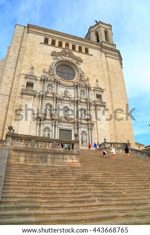 Large stairs ascending to the Baroque building of the Cathedral of Saint Mary of Girona, Catalonia, Spain