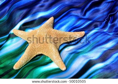 Large starfish on wavy blue fabric - stock photo