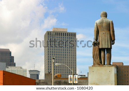 Large statue in the middle of downtown New Orleans, Louisiana. - stock photo