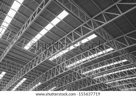Large steel roof, view from bottom to top.