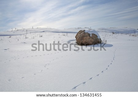 Large stone on a hillside covered with snow