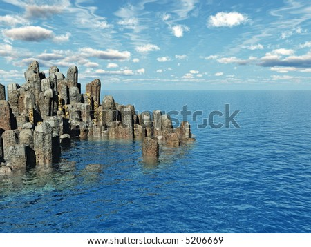Large stones on a sea cost  - 3d illustration.
