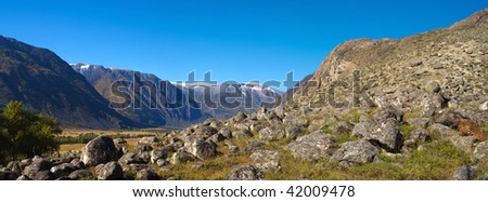 Large stones valley in the mountain canyon - stock photo