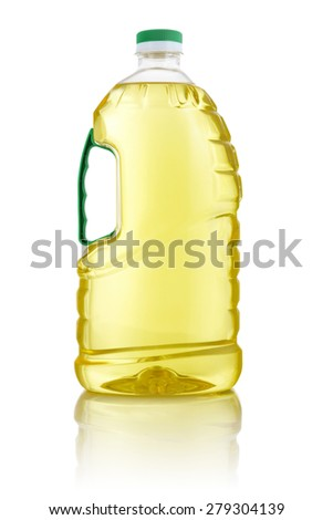 Large Sunflower Cooking Oil Bottle Isolated on White Background - stock photo