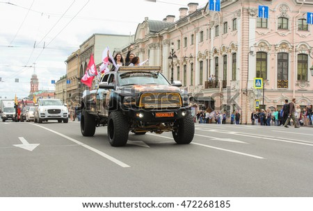 Large SUV closing parade Harley Davidson. St. Petersburg, Russia - 12 August, 2016. The annual parade of Harley Davidson in the squares and streets of St. Petersburg.