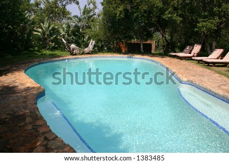 Large swimming pool and deck chairs in tropical setting.