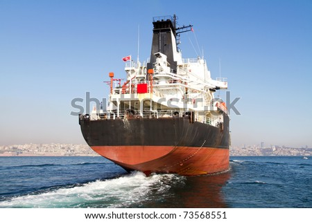 Large tanker ship on route to Bosporus sea - stock photo