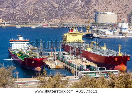 large tankers unloading crude oil - stock photo