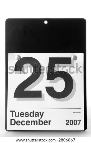 Large Text Calendar Showing Christmas Date 2007 - stock photo