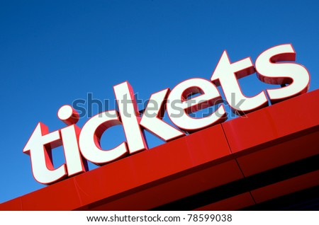 Large tickets sign - stock photo