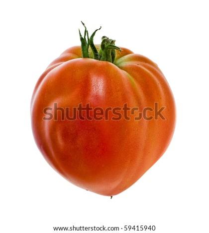 large tomato heart shaped isolated on white background - stock photo