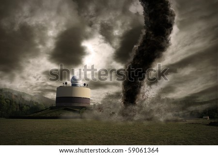 Large tornado over a meteo station - stock photo