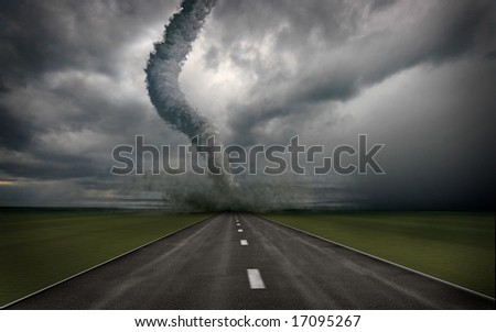 large tornado over the road (3D rendring) - stock photo