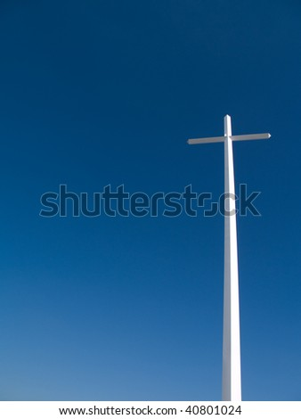 Large towering Cross with copy space - stock photo