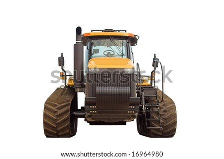 Large tractor.  Front view,  isolated on white - stock photo