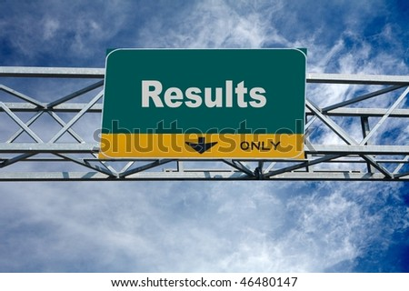Large traffic billboard the word of results on it - stock photo