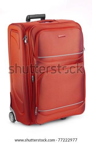 Large travel suitcase isolated on white. Tourist luggage. - stock photo