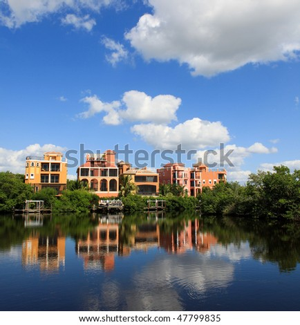 Large tropical beach house in florida - stock photo