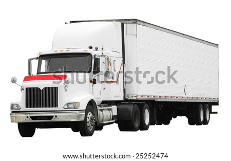 large truck isolated on white background with clipping path - stock photo