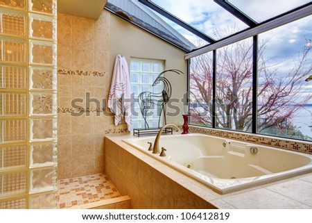 Large tub with glass wall and water view near shower. - stock photo