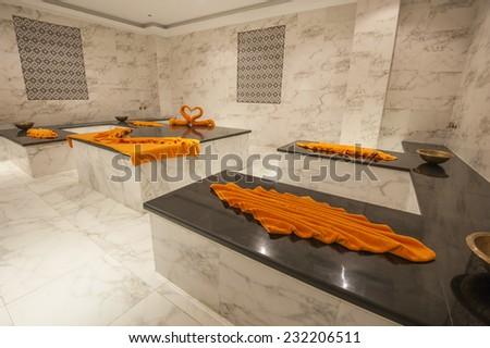 Large turkish hammam bath in luxury health spa - stock photo