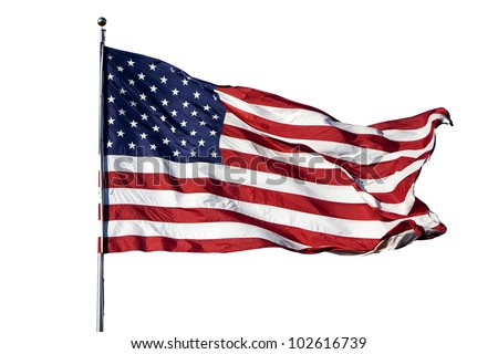 "Large U.S. Flag ""Old Glory"" blowing in a strong wind on a cloudless day - isolated on white background - stock photo"