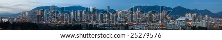 Large Vancouver Twilight Panorama - stock photo