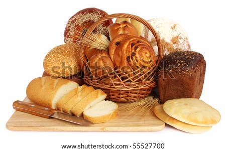 large variety of bread, still life on white background - stock photo