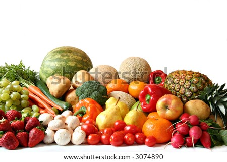 Large variety of fresh fruit and vegetables, water drops visible at 100% - stock photo