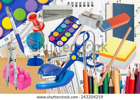 large variety of school supplies - stock photo