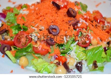 Large vegetable salad - stock photo