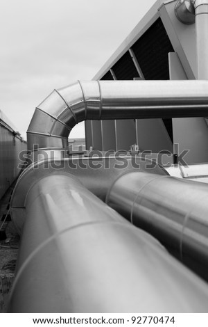 Large ventilation duct - stock photo