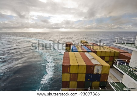large vessel's wake during williamson turn - stock photo