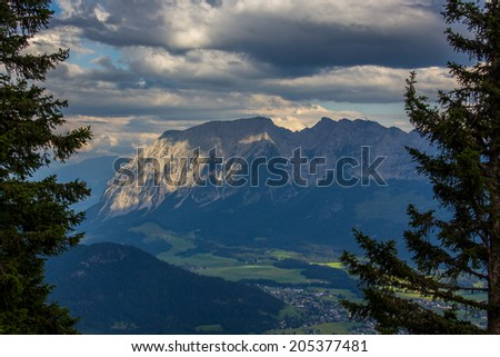 Large view of the high mountains Alps Austria - stock photo
