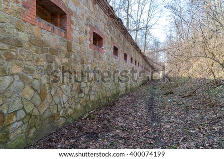 Large view on the old ruined fort - stock photo