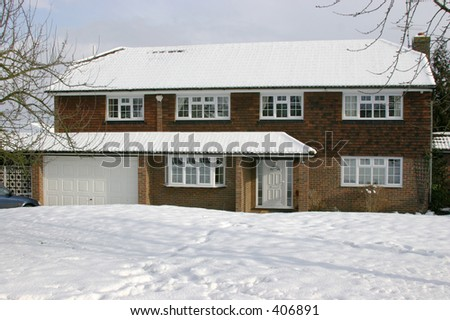 large village house in snow - stock photo
