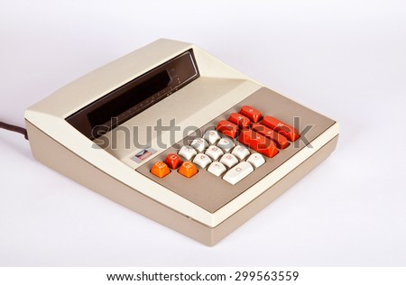 Large Vintage Calculator - stock photo
