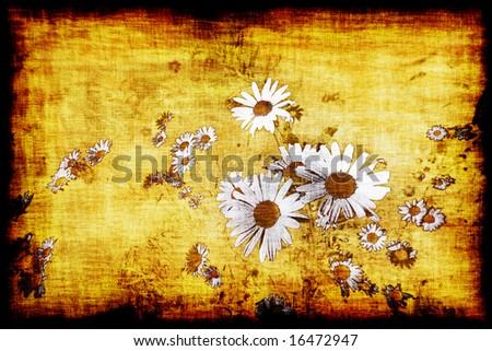 Large Vintage Style Flowers - stock photo