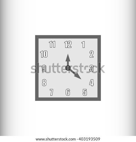 Large wall clocks. Simple classic black and white square wall clock isolated on white. - stock photo