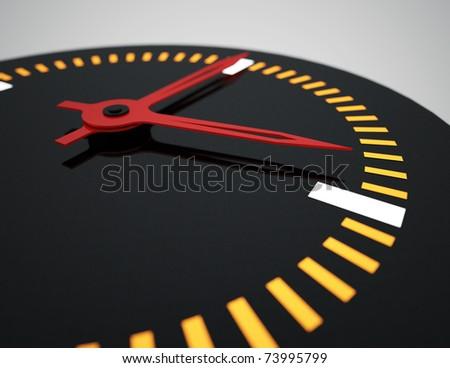 Large watch with red hands, yellow digits and black dial (face) - stock photo