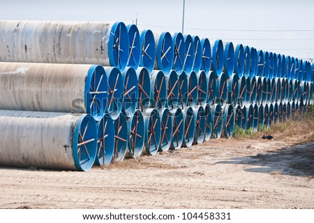 Large water pipes - stock photo