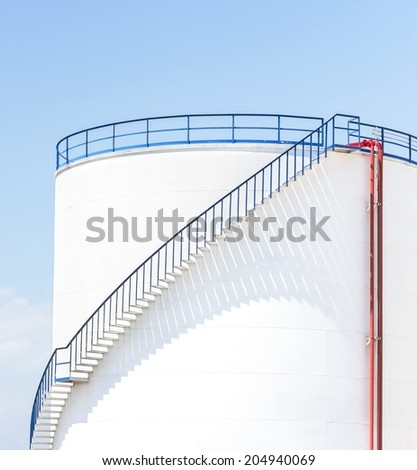 large white Industrial tanks for petrol and oil - stock photo