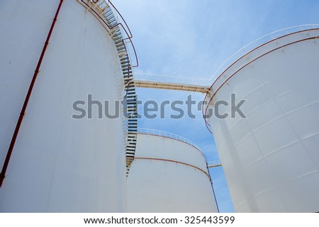 large white Industrial tanks for petrol and oil
