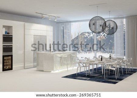Large White Modern Kitchen with Dining Table and Mountain View Through Windows. 3d Rendering. - stock photo